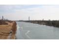 Blick auf die Neue Donau mit Donau-City und Milleniums-Tower im Hintergrund