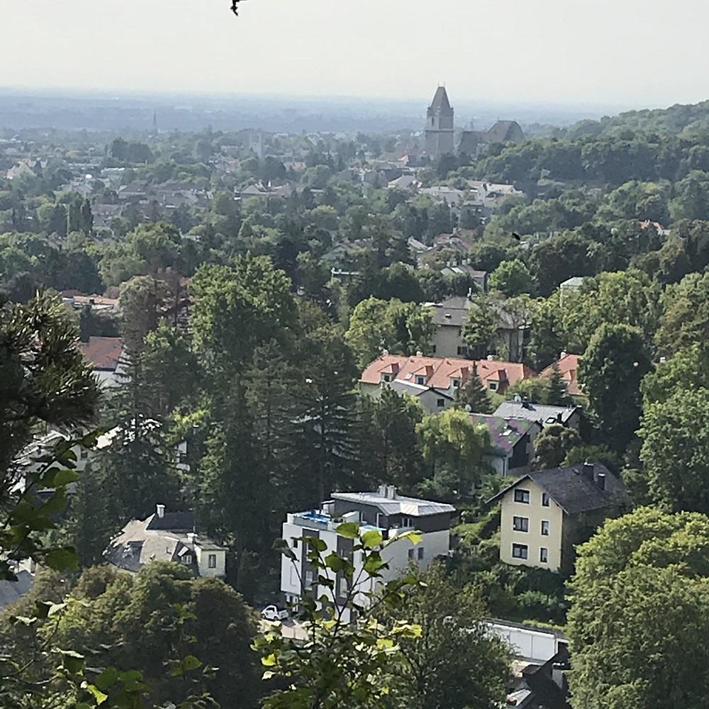 Blick von der Mitzi-Langer-Wand nach Perchtoldsdorf
