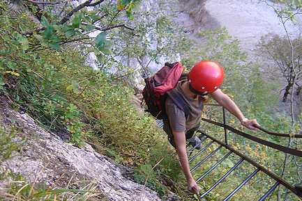 Einstiegsleiter am Alpenvereinssteig