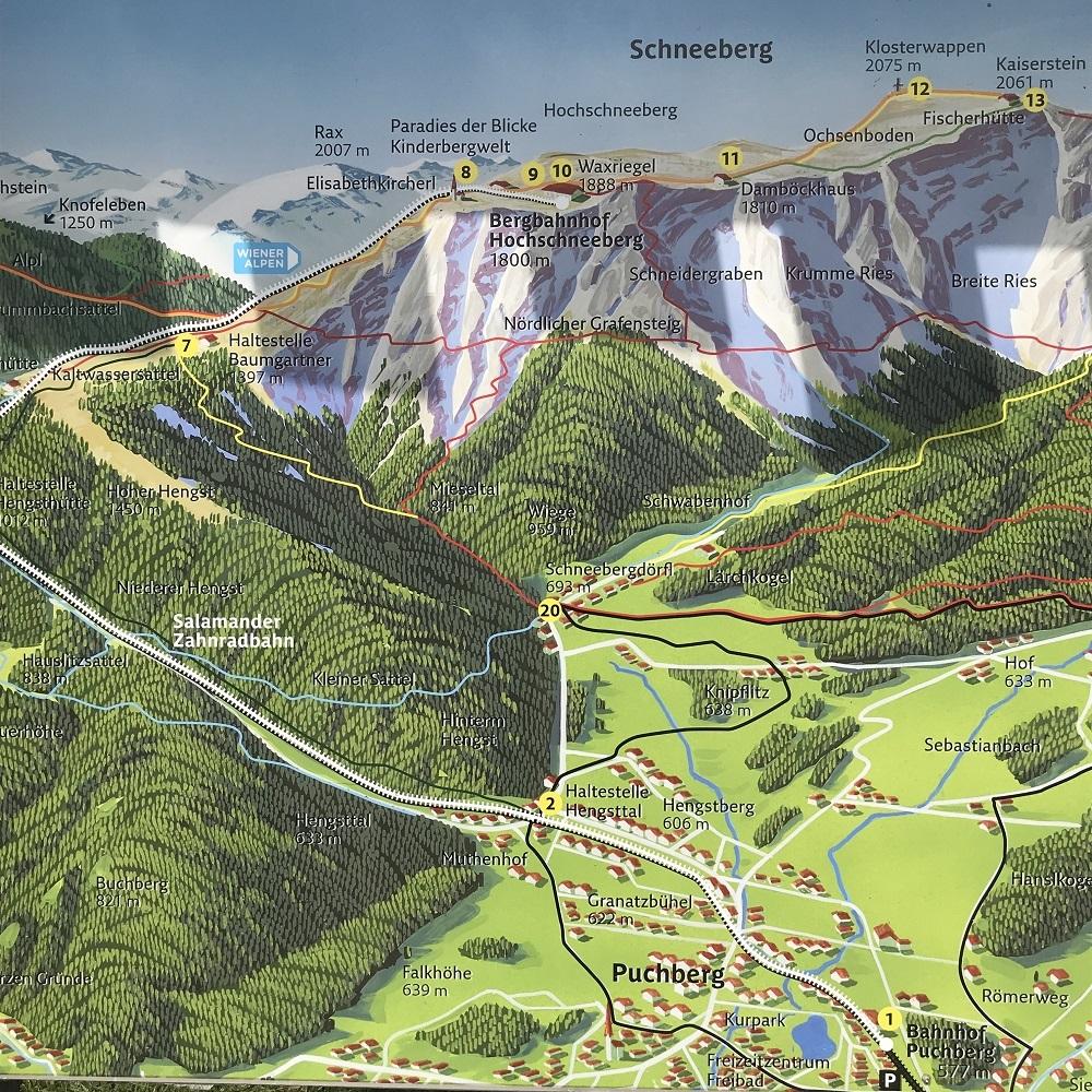 Panoramakarte Schneebergbahn