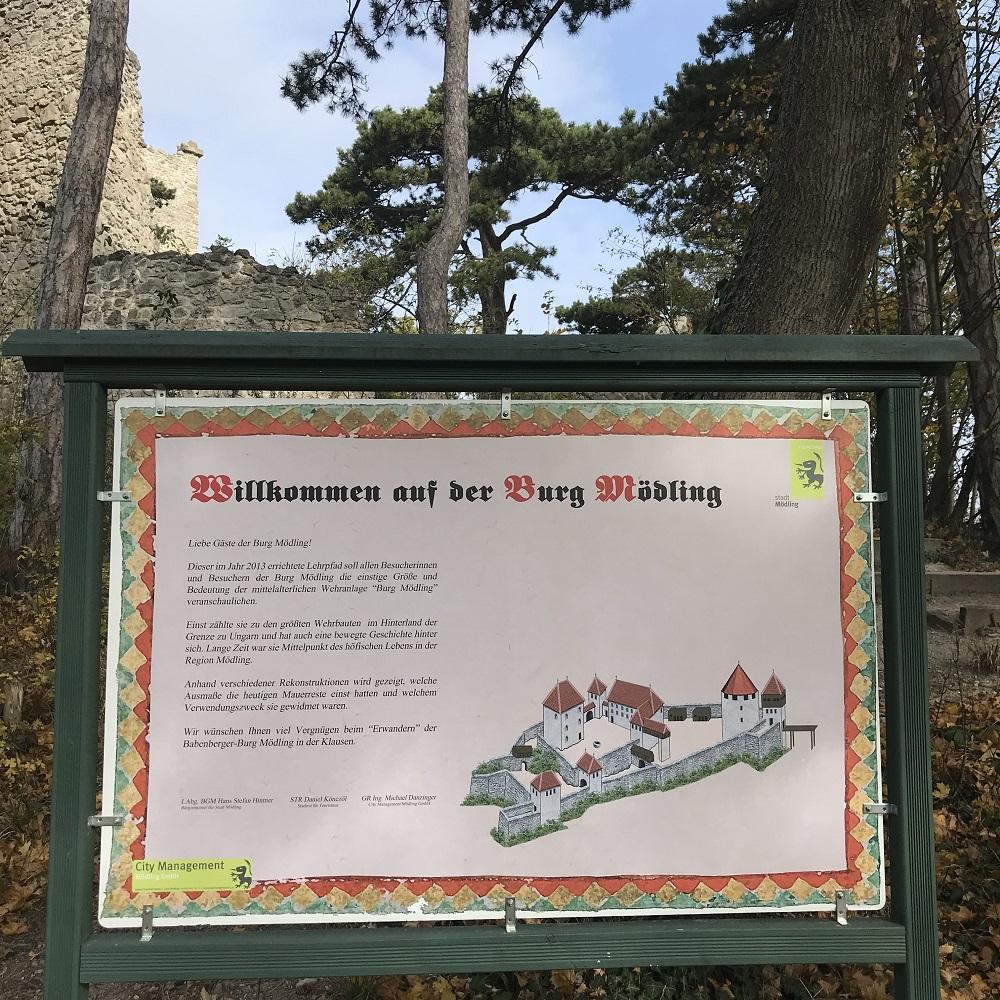 Schautafeln zur Geschichte der Burg
